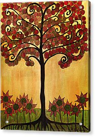 Happy Tree In Red Acrylic Print