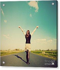 Happy Woman Standing On Empty Road Retro Vintage Style Acrylic Print by Michal Bednarek