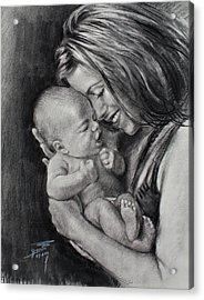 Happy Young Mother Acrylic Print by Ylli Haruni