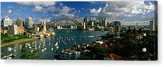 Harbor And City And Bridge, Sydney Acrylic Print by Panoramic Images