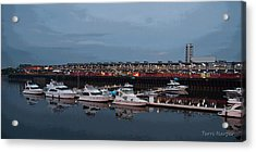 Harbor And Skyline From Old Montreal Acrylic Print by Terri Harper