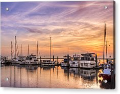 Harbor At Jekyll Island Acrylic Print by Debra and Dave Vanderlaan