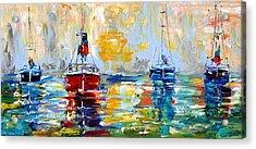 Harbor Boats At Sunrise Acrylic Print by Karen Tarlton