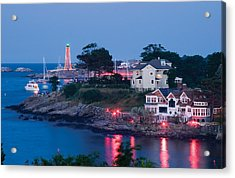 Marblehead Harbor Illumination Acrylic Print by Jeff Folger