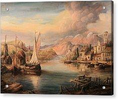 Harbor Scene  Acrylic Print by Dan Scurtu