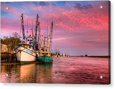 Harbor Sunset Acrylic Print by Debra and Dave Vanderlaan