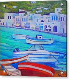 Harborfront Mykonos Acrylic Print