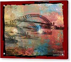 Harbour In Abstraction Acrylic Print by Leanne Seymour