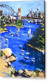 Harbour In Sun And Wind Acrylic Print by Shirley  Peters