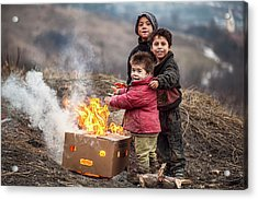 Hard Life But Smile On Their Faces! Acrylic Print