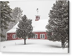 Harding Road Red Barn In The Snow Acrylic Print by Benjamin Williamson