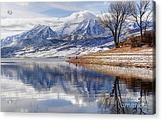Hardy Fishermen Deer Creek Reservoir And Timpanogos In Winter Acrylic Print by Gary Whitton