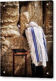Harken Unto My Prayer O Lord Western Wall Jerusalem Acrylic Print by Mark Fuller