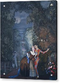 Harlequin And A Lady Acrylic Print by Konstantin Andreevic Somov