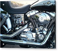 Harley Black And Silver Sideview Acrylic Print
