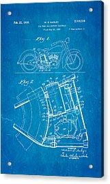 Harley Davidson Horseshoe Oil Tank Patent Art 1938 Blueprint Acrylic Print