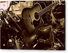 Acrylic Print featuring the photograph Harley Davidson Made Into 1960ish by Karen Kersey