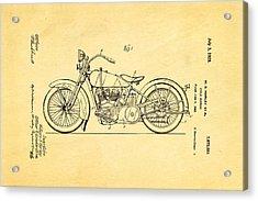 Harley Davidson Motor Cycle Support Patent Art 1928 Acrylic Print