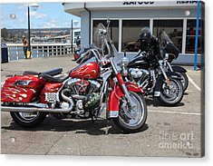Harley-davidson Motorcycle On The Municipal Wharf At Santa Cruz Beach Boardwalk California 5d23817 Acrylic Print by Wingsdomain Art and Photography
