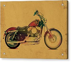 Harley Davidson Motorcycle Profile Portrait Watercolor Painting On Worn Parchment Acrylic Print