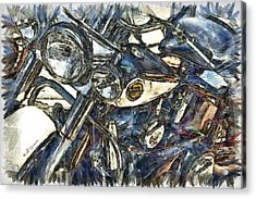 Harley Davidson Painted Acrylic Print by Jeff Swanson