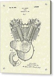Harley Engine 1923 Patent Art Acrylic Print