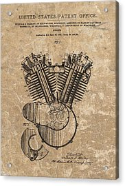 Harley Engine Design Patent Acrylic Print by Dan Sproul