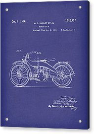 Harley Motorcycle 1924 Patent Art Blue Acrylic Print by Prior Art Design