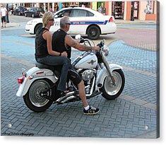 Harley On Main Street Acrylic Print by Brian Johnson