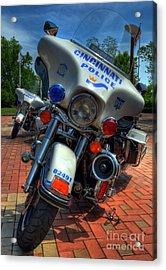 Harleys In Cincinnati 1 Acrylic Print by Mel Steinhauer