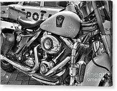 Harleys In Cincinnati 2 Bw Acrylic Print by Mel Steinhauer