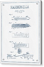 Harmonica Patent Drawing From 1897  - Blue Ink Acrylic Print