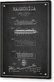 Harmonica Patent Drawing From 1897 - Dark Acrylic Print by Aged Pixel