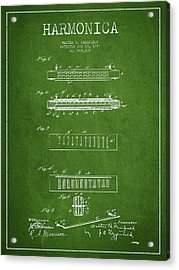 Harmonica Patent Drawing From 1897 - Green Acrylic Print by Aged Pixel