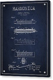 Harmonica Patent Drawing From 1897 - Navy Blue Acrylic Print by Aged Pixel