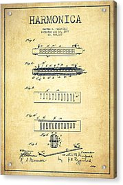 Harmonica Patent Drawing From 1897 - Vintage Acrylic Print by Aged Pixel