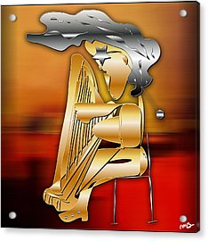 Acrylic Print featuring the digital art Harp Player by Marvin Blaine
