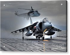 Harrier Gr9 Takes Off From Hms Ark Royal For The Very Last Time Acrylic Print by Paul Fearn