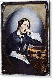 Harriet Beecher Stowe (1811-1896). American Abolitionist And Writer. Oil Over A Daguerrotype, C1852 Acrylic Print by Granger