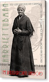Harriet Tubman The Underground Railroad 20140210v2 With Text Sepia Acrylic Print by Wingsdomain Art and Photography