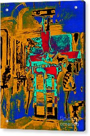 Harry Houdini And The Chinese Water Torture In Abstract Acrylic Print by Wingsdomain Art and Photography
