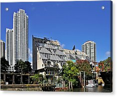 Harry Weese's Chicago River Cottages Acrylic Print by Christine Till