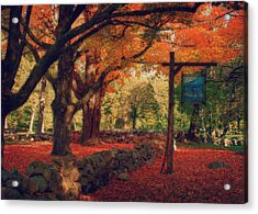 Acrylic Print featuring the photograph Hartwell Tavern Under Orange Fall Foliage by Jeff Folger