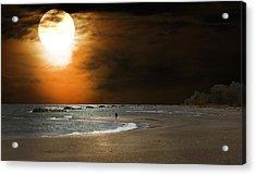Harvest Moon On The Beach Acrylic Print