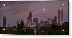 Acrylic Print featuring the photograph Harvest Moon Over Charlotte by Serge Skiba