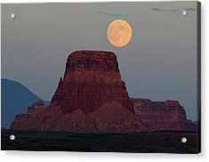 Harvest Moon Rising Over Tower Butte Acrylic Print by Michel Hersen