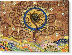 Acrylic Print featuring the tapestry - textile Harvest Swirl Tree by Kim Prowse
