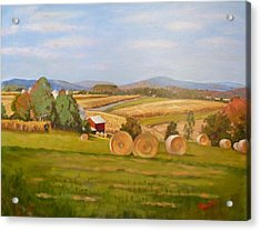 Harvest Time On Berger Hill Acrylic Print