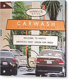 Harv's Car Wash Acrylic Print by Paul Guyer
