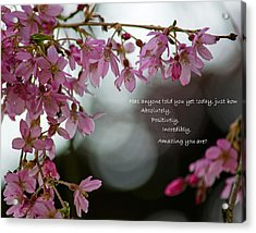 Acrylic Print featuring the photograph Has Anyone Told You... by Jordan Blackstone